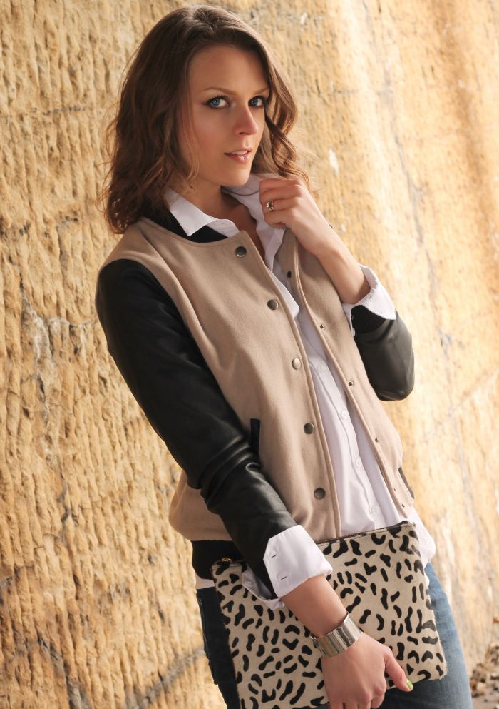 Baseball jacket + leopard clutch
