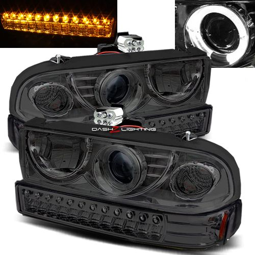 98-04 Chevy S10 Blazer Halo Projector Headlights Bumper Lights - Smoke