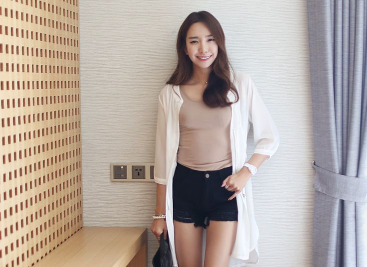 Loveliness of the female clothing shop. [Whitefox] JK chiffon string point / Size : FREE / Price : 22.76 USD Chiffon fabric is cool to wear jackets for Saguaro!! #outer #chiffon #jacket #seethrough #koreafashion #womanfashion #dailylook #chic #OOTD #WHITEFOX