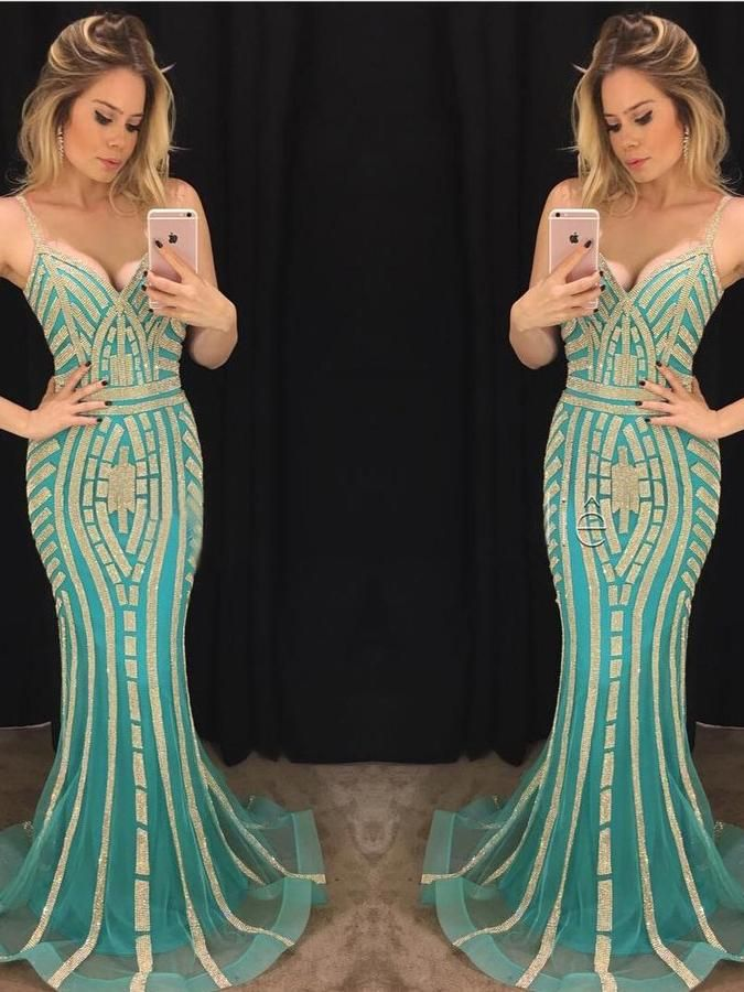 Modest Trumpet/Mermaid Spaghetti Straps Prom Dress Tulle Chic Green Formal Dress Evening Gowns AM291