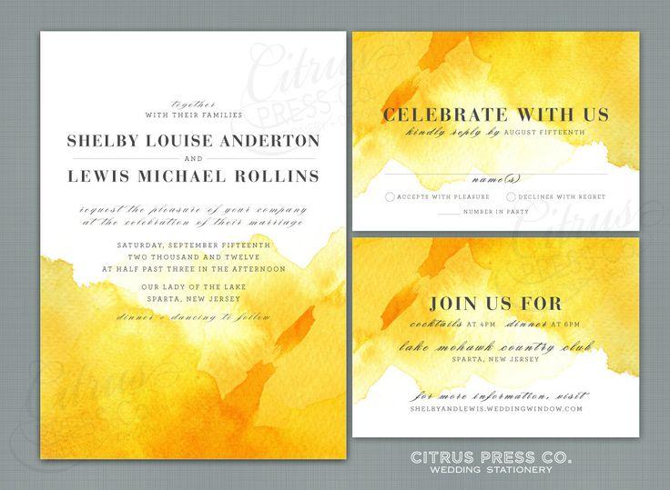 **like this amount of watercolor  --  Yellow Watercolor Wedding Invitation OR DIY PDF Printable