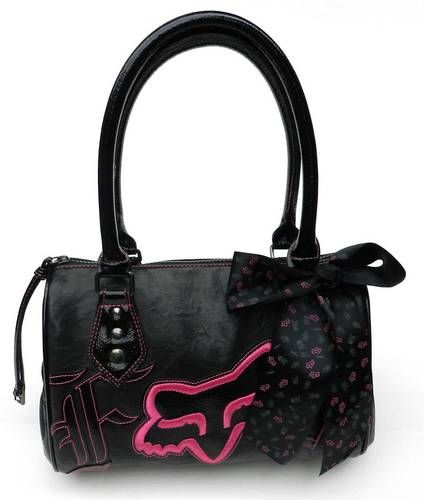 New Fox Racing Womens Black Pink Handbag Purse | eBay