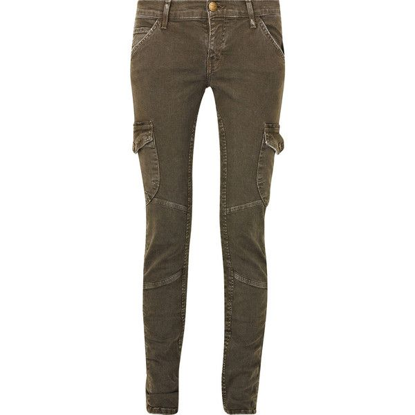 Current/Elliott Cotton-blend skinny cargo pants ($140) ❤ liked on Polyvore featuring pants, jeans, bottoms, trousers, calças, brown pants, button pants, combat cargo pants, skinny fit cargo pants and brown cargo pants