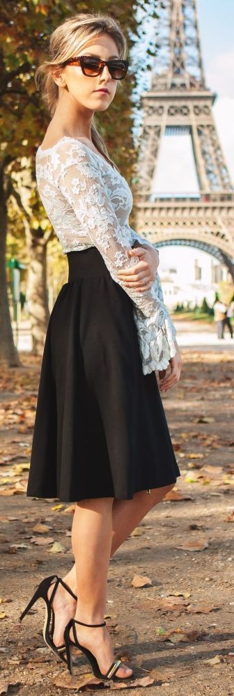 Black And White Romantic Valentine's Outfit