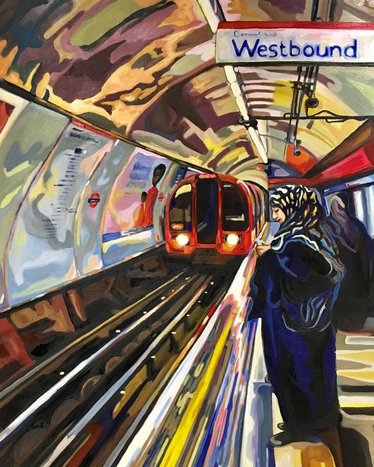 Westbound #oil #painting #art #london #underground #centralline #train #commute #westbound #muslim #woman #everyday #city #life