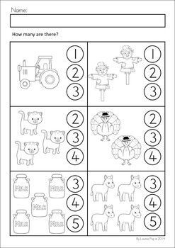 MEGA Math & Literacy Worksheets & Activities - Down on the Farm. 100 Pages in total!! A page from the unit: Count how many there are.