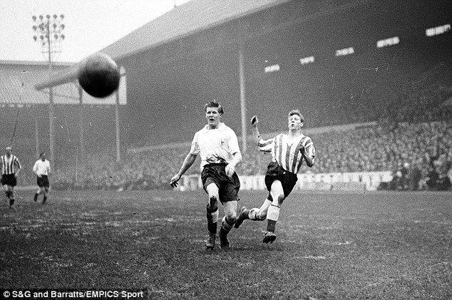 Colin Grainger, during his spell at Sunderland (right) sends a shot flashing wide against Tottenham