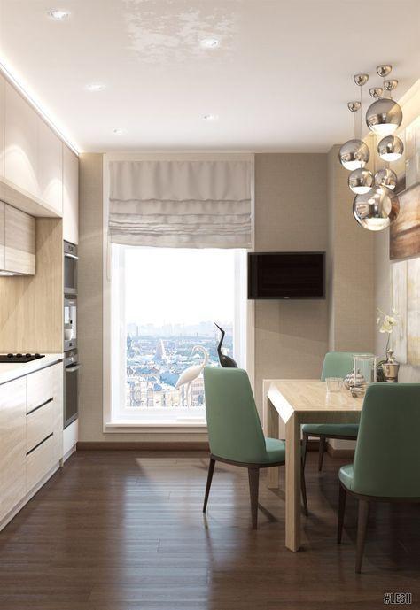 Кухня в стиле контемпорари   Студия LESH  (дизайн кухни, светлая, маленькая, окно, массив, гарнитур, идеи дизайна, оформление кухни)
