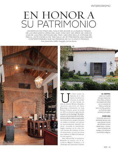 Reportaje revista V&D del Mercurio,Tienda Viña Santa Carolina, arquirecto Miguel Dulanto, diseñador Cristian Pizarro