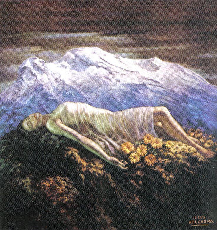 """Volcán Iztlazihuatl, llamado también """"La Mujer Dormida"""" cercano a la Cd, de México."""