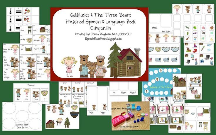 Speech Room News: Goldilocks & the 3 Bears: Speech and Language Book companion: 55 pages for preschool to K.