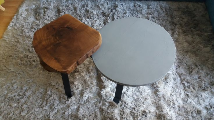 coffee tables solid walnut & cement