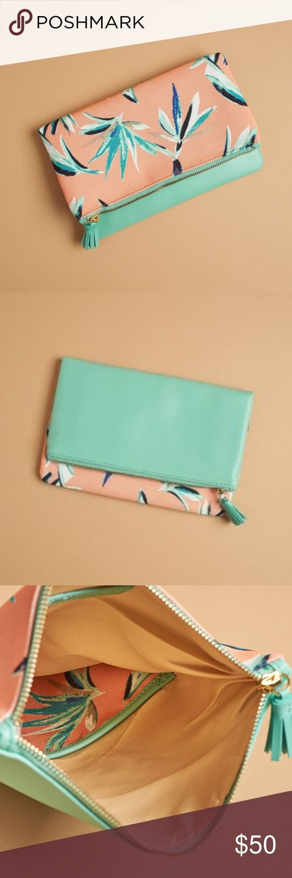 Rachel Pally Reversible Clutch Brand New!!! Adorable reversible clutch with teal blue and pink  Comes with the cloth case, never used Rachel Pally Bags Clutches & Wristlets