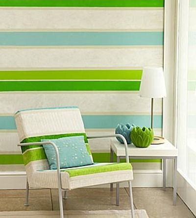 Cómo Pintar Paredes a RayasDecor Tips, April Interiors, Stripes Wall, Sun Porches, Blue Green, Colors Palettes, Texture Wall, Painting Effects, Accent Wall