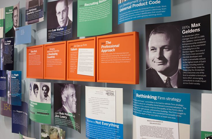 Corporate heritage display for McKinsey & Company in New