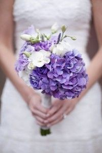 Wedding Bouquets - Hand tied bouquet of purple hydrangeas, purple and white lisianthus and white roses from http://inbloomnewyork.com/wordpress/?p=1181