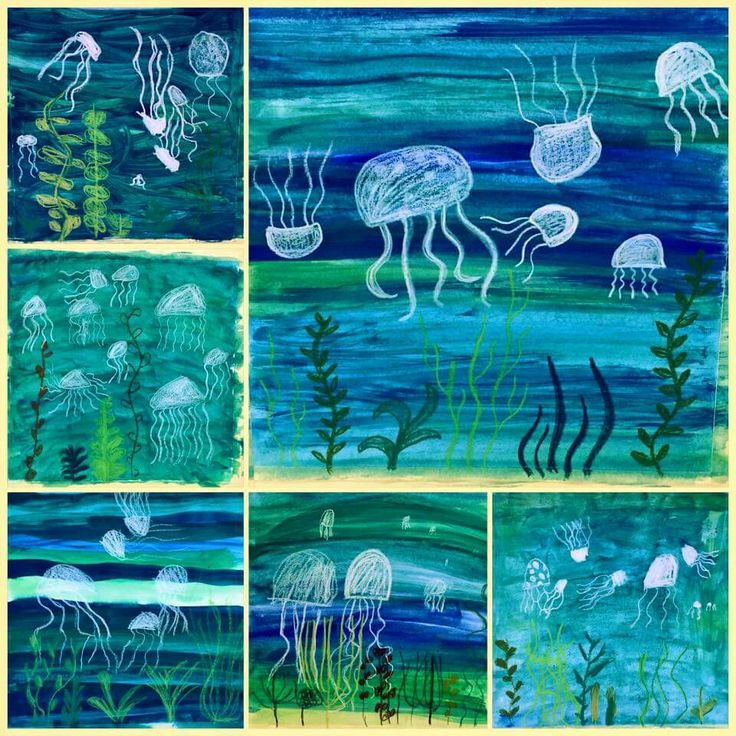 Under the sea oil pastel and watercolor project