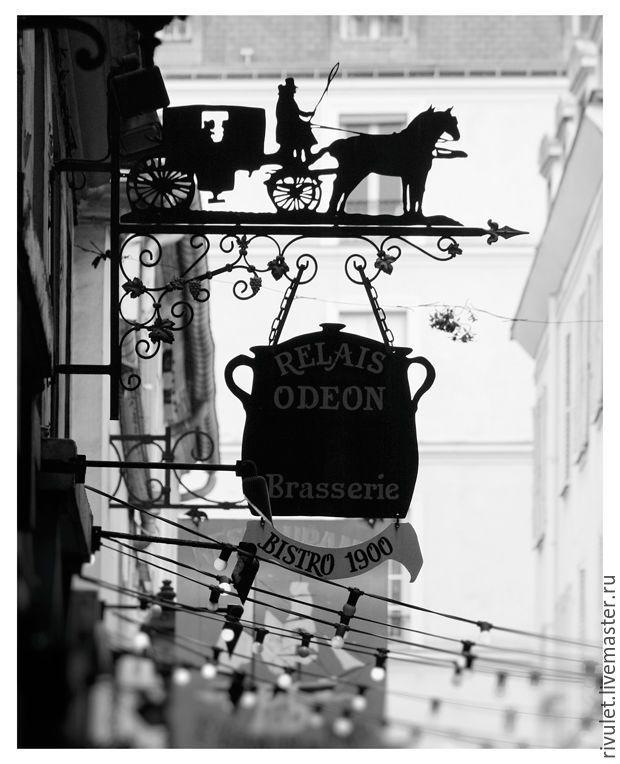 Купить Фотокартины черно белые для интерьера кухни, Триптих Парижское кафе - фотокартина, картина для интерьера