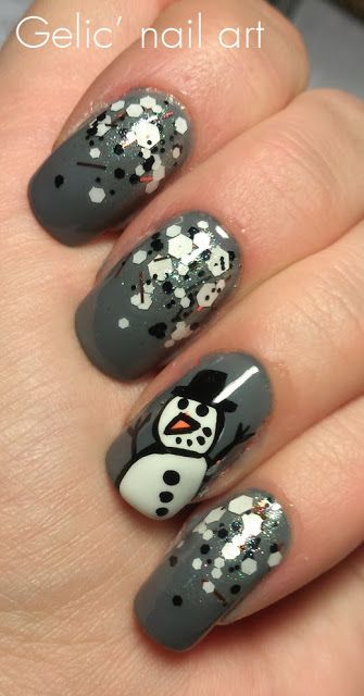 Gelic' nail art: Snowman nail art