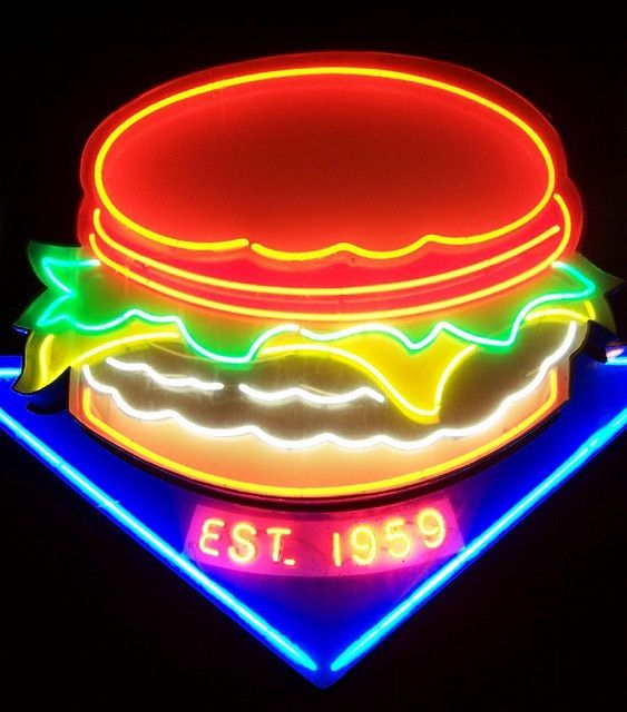 Neon burger. @thecoveteur