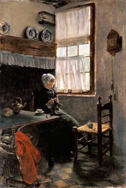 Image: Max Liebermann - Knitting farmer at the window