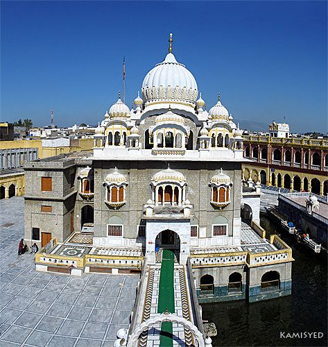 Gurdawara Punja Sahib. Gurdwara Panja Sahib is located at Hasan Abdal, 48 kilometres from Rawalpindi in Pakistan. This is one of the most holy places of Sikhism because of the presence of a rock believed to have the hand print of Guru Nanak imprinted on it.
