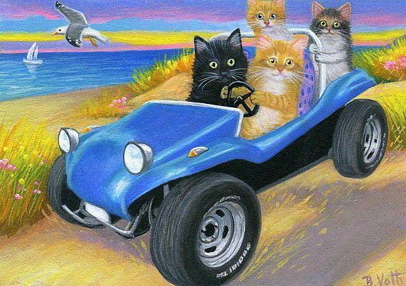 Cats kittens dune buggy ocean sea beach gull original aceo ...