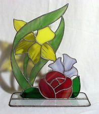 Vintage Leaded Stained Art Glass Table Top Window Ledge Rose Tulip Iris Flowers