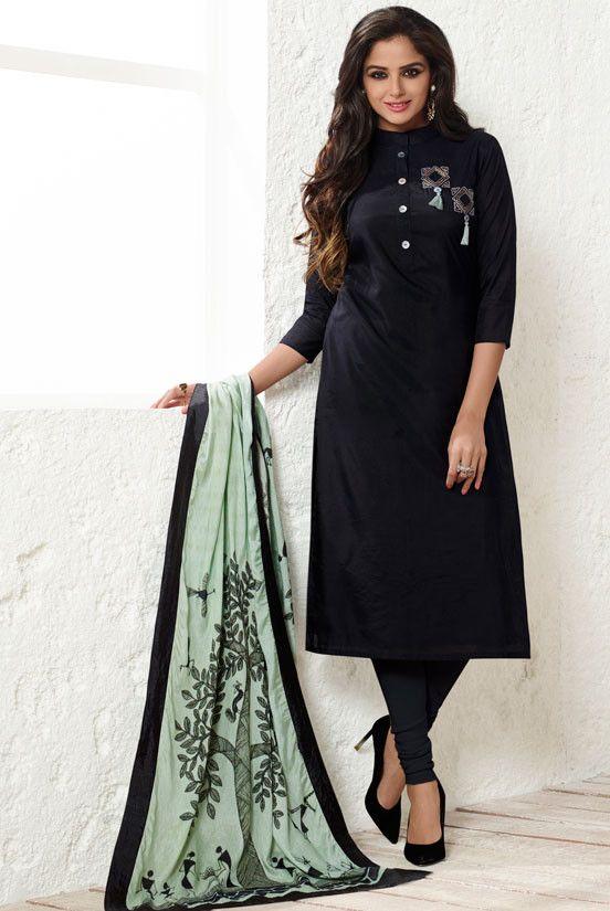 0928de39909 Black Readymade Suit with Printed Dupatta