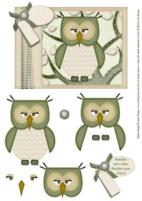 WISE OWL ANOTHER YEAR OLDER topper decoupage on Craftsuprint designed by Janet Briggs - Topper with additional step by step decoupage elements.Tag reads 'Another year older, another year wiser!' Blank tag enables you to customise this with your own greeting for any adults birthday, male or female. - Now available for download!