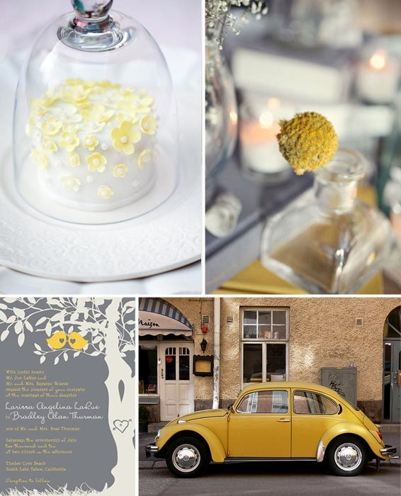 yellow grey wedding theme- love the invitation. Yellow and gray is my favorite color combo.