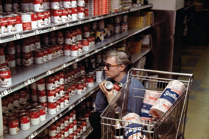Andy Warhol buying Campbell's Soup at Gristede's Supermarket, 1962