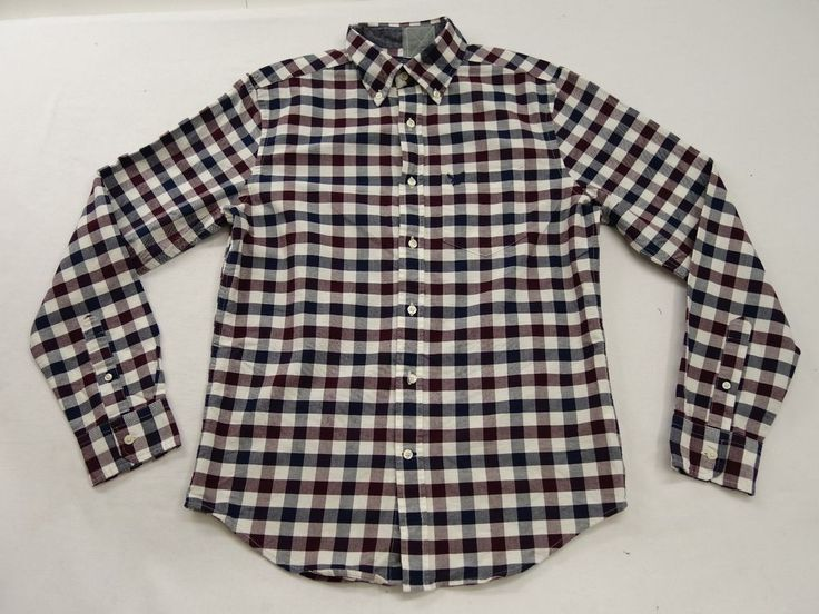 New American Eagle AE AEO Mens #8911 Red White & Blue Button Down Shirt Sz Small #AmericanEagleOutfitters #ButtonFront