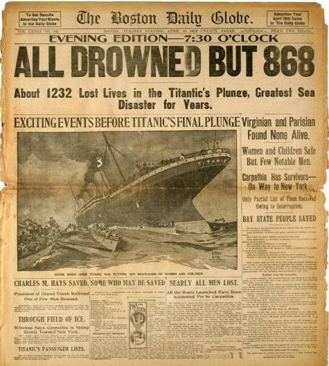 The front page of the April 16, 1912 evening edition of the Boston Globe, detailing the Titanic Disaster is shown…