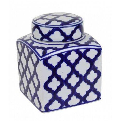 Indigo Quatrefoil Lidded Jar