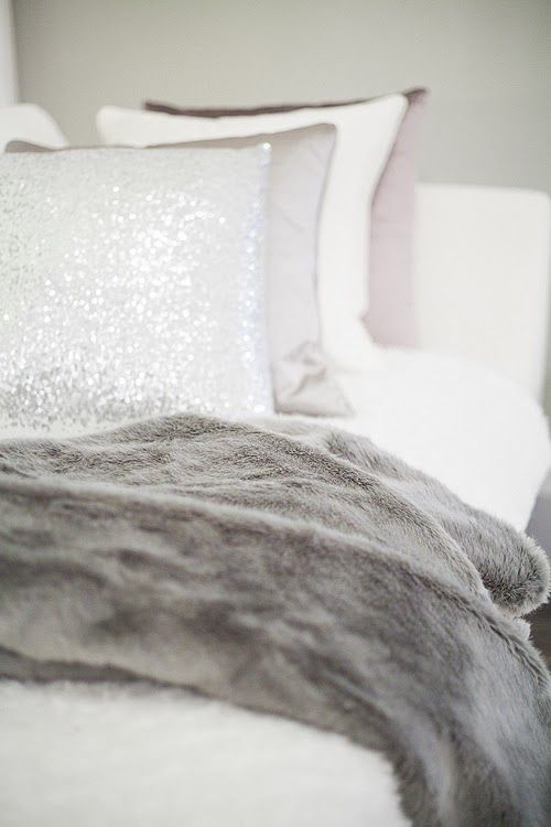 Love the idea of white bedding with silver and grey just need plum walls to go with it: