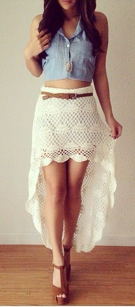 Sexy Ivory Crochet Lace Asymmetric Hem Full Length Maxi Skirt Vintage Chic