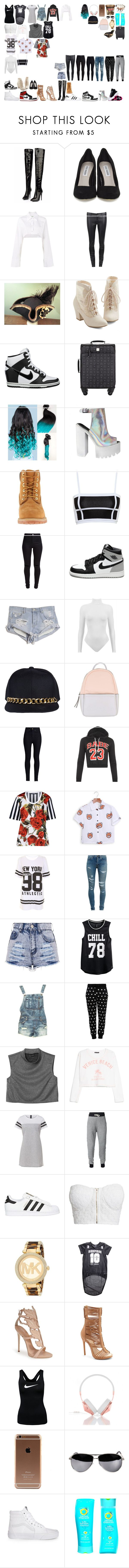 """Packing for Tour"" by kaelighoffical ❤ liked on Polyvore featuring Steve Madden, Off-White, J Brand, But Another Innocent Tale, NIKE, MCM, Timberland, Balmain, New Look and Retrò"