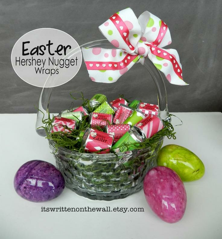 150 best teacher gifts images on pinterest gift ideas teacher have yourself a easter basket full of hershey chocolate nugget candies the wraps make them negle Choice Image