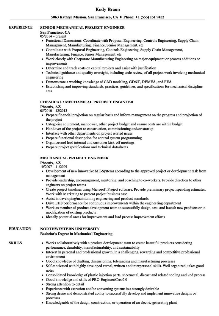 Mechanical Engineer Resume Sample Graceful Mechanical