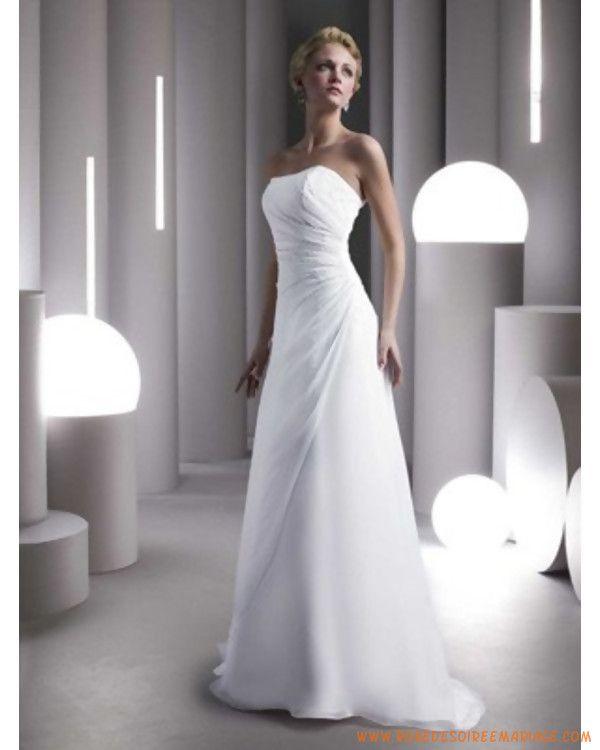 Sans bretelle en mousseline robe de mariée simple à Strasbourg