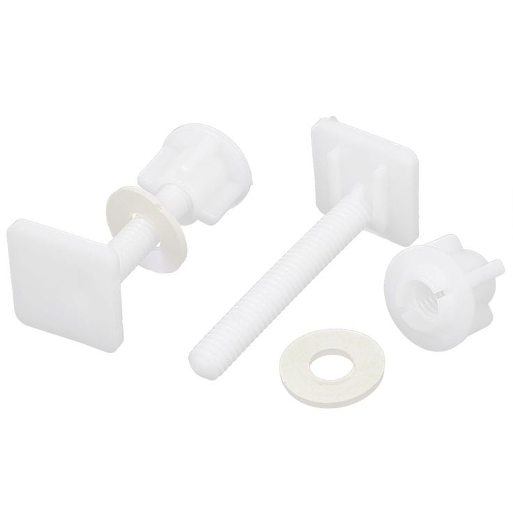 Unique Bargains 8mm Thread Square Shaped Toilet Seat Hinge Bolts Nuts White 2pcs