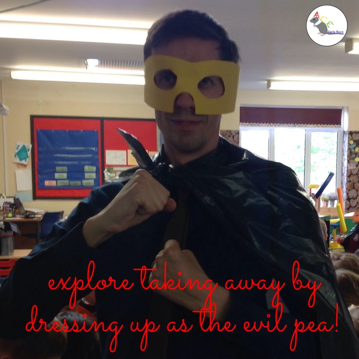 Look out! The Evil Pea is stealing things! Explore taking away by having too much fun in a cape! #eyfs #earlyyears #aceearlyyears #supertato #earlymaths #subtraction #takingaway