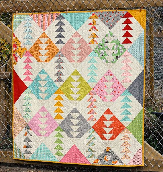 Flying Geese Throw Quilt by BlueElephantStitch on Etsy