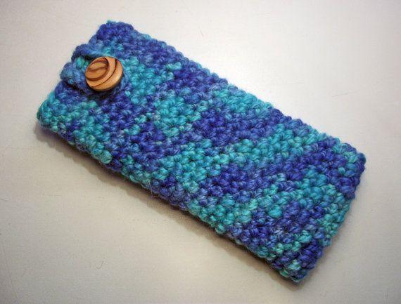 Crochet Glasses Case Green & Blue Spectacle by WonderWoollens