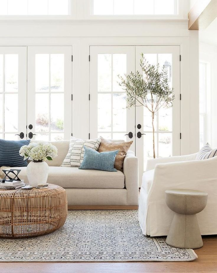 Living Room With Blue Pop Of Color Natural Living Room Living Room Designs Cozy Living Rooms