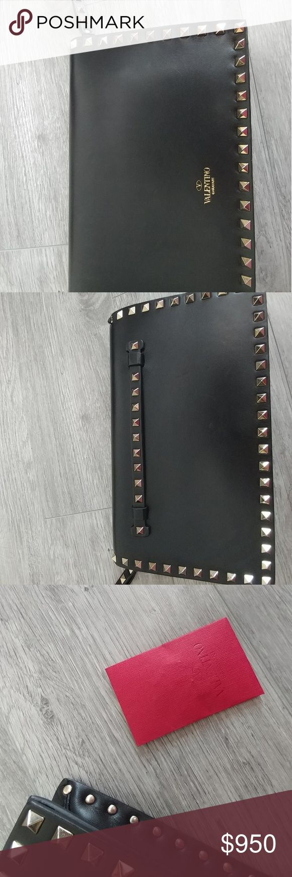 🚫SOLD🚫 Valentino rockstud wristlet clutch Minor scratches 100% authentic Fyi, black never goes on sale! No dust bag, but I do have extra rockstuds in the red envelope Valentino Bags Clutches & Wristlets