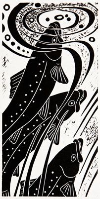Rising Trout (ll) - hand-pulled relief print - Dona Reed