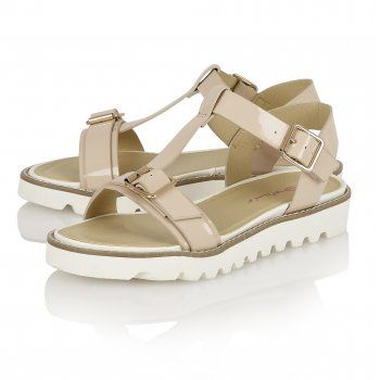 Buy Dolcis ladies Genoa sandals online in nude patent