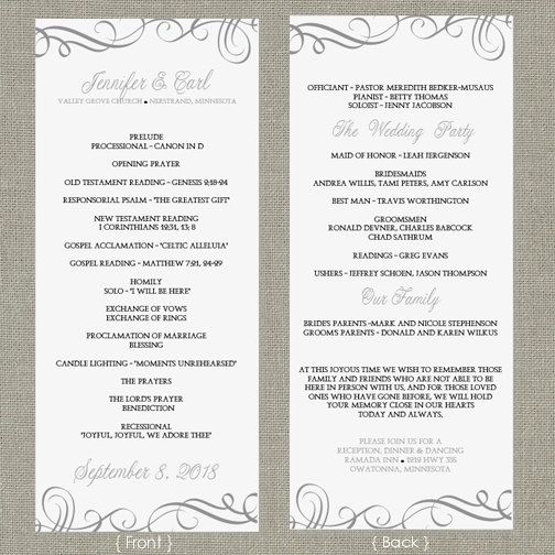 Wedding Program Template  DOWNLOAD by DiyWeddingTemplates on Etsy, $8.00